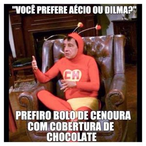 """Imagen encontrada en las redes sociales que dice: """"Tú prefieres a Aécio o a Dilma?, yo prefiero pastel de zanahoria con cobertura de chocolate""""."""