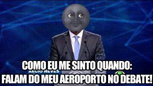 """Meme pro-Dilma de Aécio en el debate electoral del segundo turno. """"Como me siento cuando: hablan de mi aeropuerto en el debate"""""""